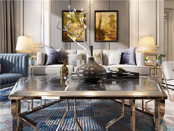 轻奢简欧客厅#平面设计室内设计