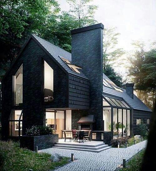 现代坡屋顶别墅外立面_3518104