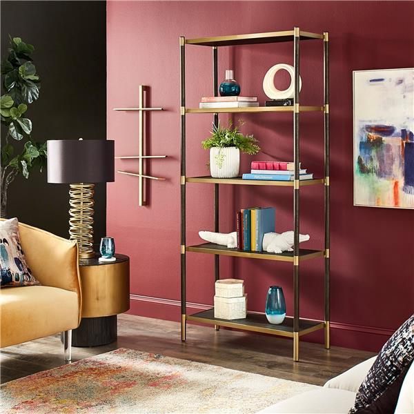 金色饰面书柜