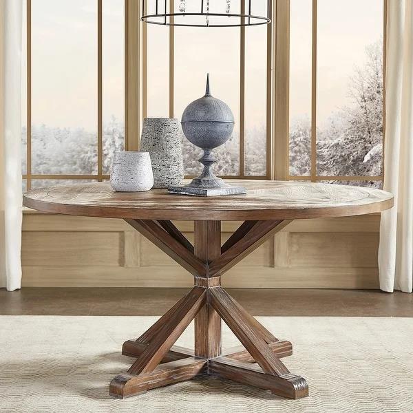 圆形松木餐桌