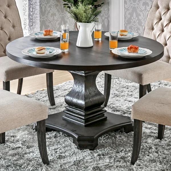 圆形黑色木基座餐桌