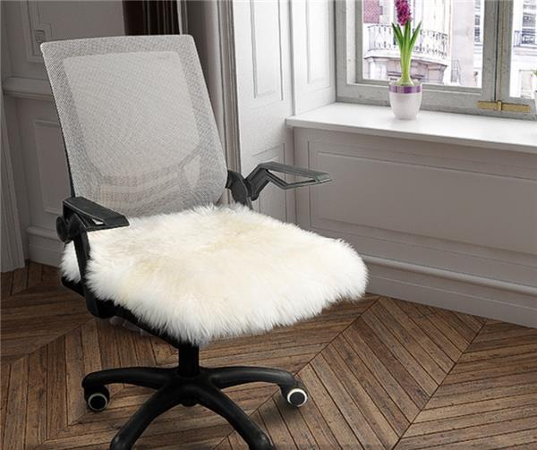 恒源祥  澳洲纯羊毛皮毛一体长毛绒小方垫单垫三件套汽车坐垫沙发汽车座垫#坐垫