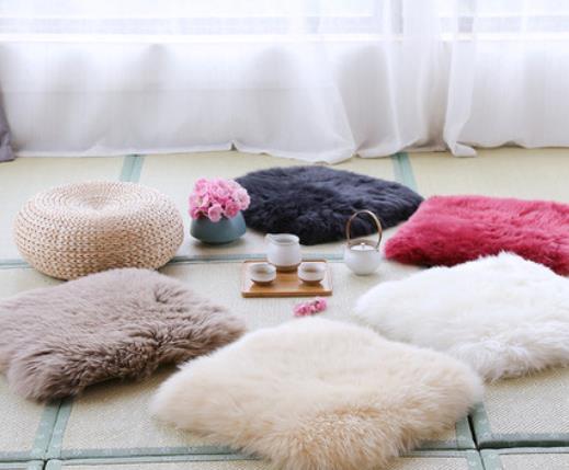 AUSKIN/澳世家  羊毛家用毛毛坐垫皮毛一体椅子椅垫榻榻米地上座垫毛绒加厚沙发垫#坐垫