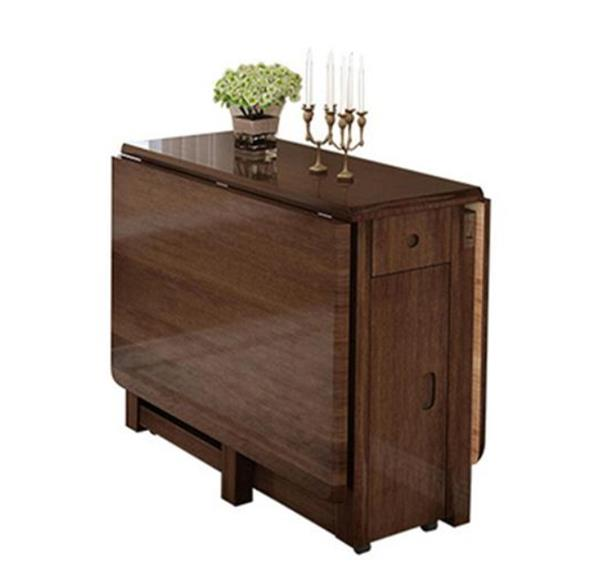 乐私  实木餐桌椅组合可折叠餐桌简约现代小户型省空间饭桌子创意家具#餐桌