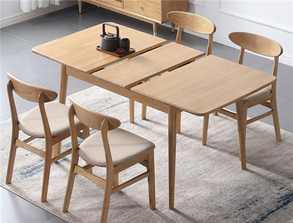 仰格北欧实木可伸缩餐桌小户型餐桌椅组合折叠家用多功能简约饭桌#餐桌