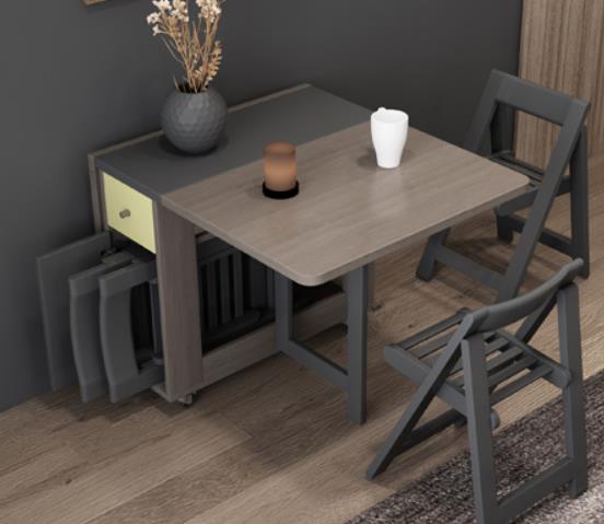洛兰 餐桌折叠餐桌椅组合折叠餐桌小户型家用餐台#餐桌