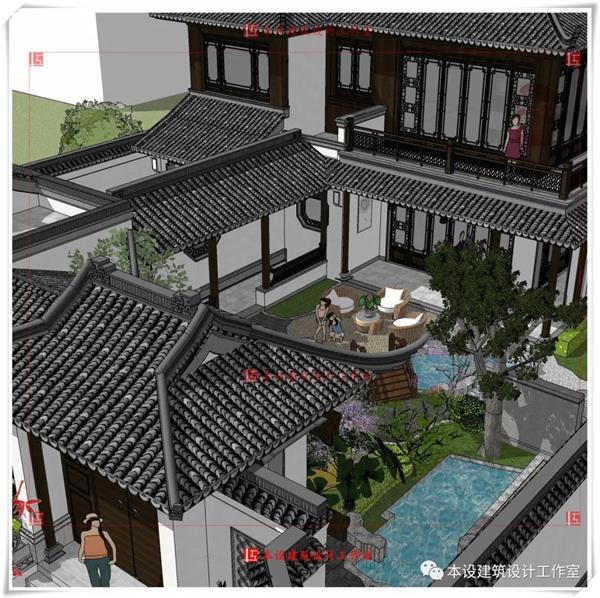 本设建筑设计作品  建一栋美美的中式大宅,一切刚好如你所愿