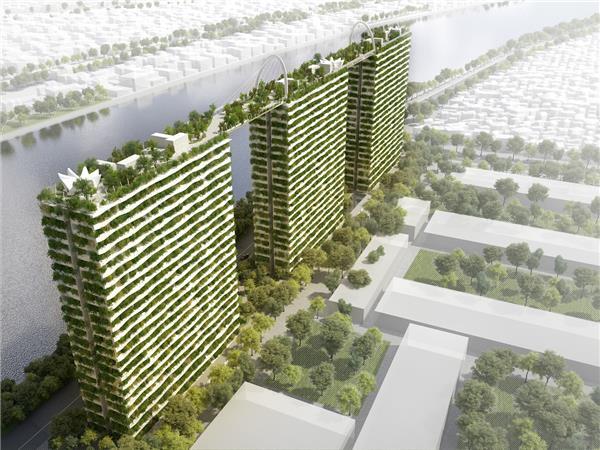 Vo Trong Nghia 建筑事务所的钻石莲花桥为胡志明市增添了一抹绿意