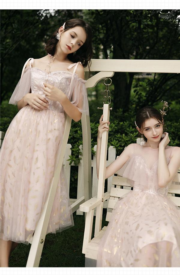 伴娘服仙气质显瘦遮手臂姐妹团礼服裙中长款闺蜜装女