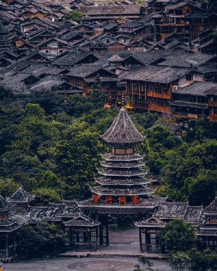 贵州省黔东南市肇兴侗寨旅游景点