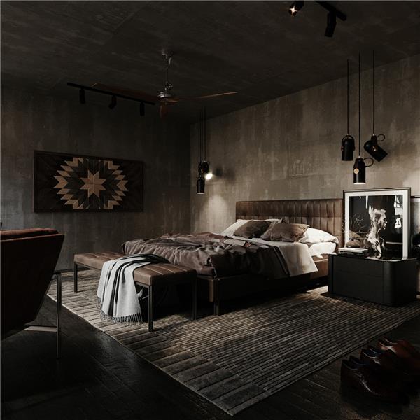 现代工业风客餐厅卧室_2653637