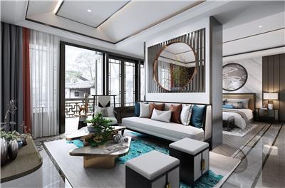 装修豪华的新中式大型卧室设计