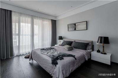 二分之一灰现代复式卧室实景图
