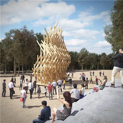 木材拼装的亭子——隈研吾