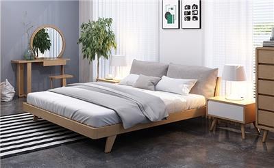 实木床橡木双人床 北欧日式1.5m1.8米 简约软靠卧室家具布艺婚床